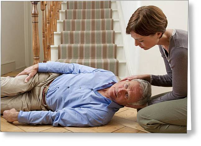 Senior Man Injured In A Fall Greeting Card by