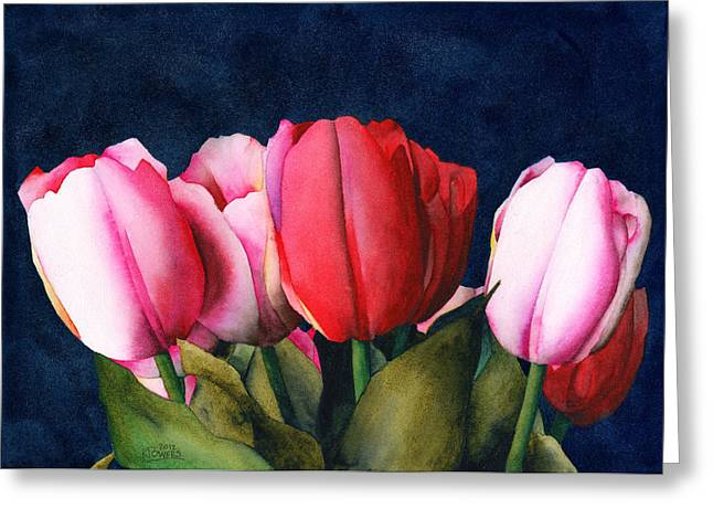Greeting Card featuring the painting Sennelier Tulips by Ken Powers