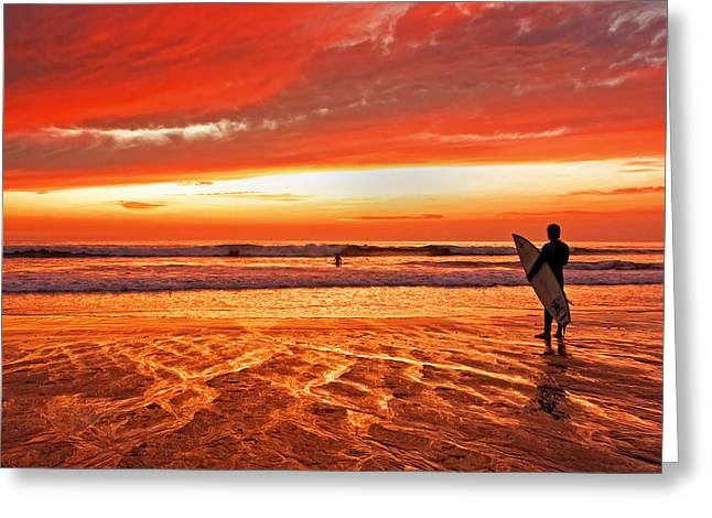 Sensational Sunset Surf Greeting Card by Donna Pagakis