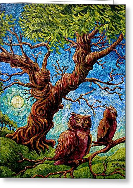 Sentient Owls Greeting Card