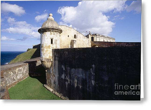 Sentry Post On The Wall In San Cristobal Fort Greeting Card by George Oze