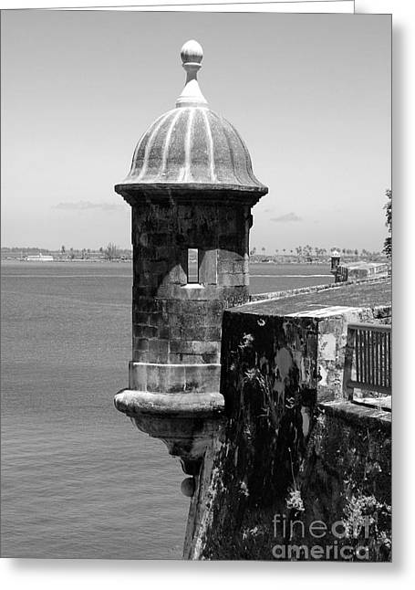 Sentry Tower Castillo San Felipe Del Morro Fortress San Juan Puerto Rico Black And White Greeting Card by Shawn O'Brien