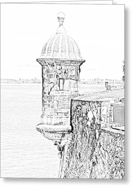 Sentry Tower Castillo San Felipe Del Morro Fortress San Juan Puerto Rico Line Art Black And White Greeting Card by Shawn O'Brien