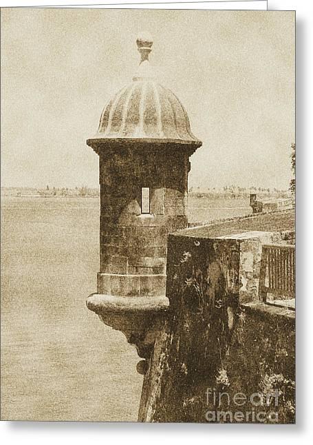 Sentry Tower Castillo San Felipe Del Morro Fortress San Juan Puerto Rico Vintage Greeting Card by Shawn O'Brien