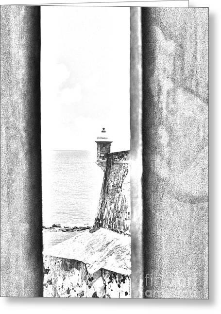 Sentry Tower View Castillo San Felipe Del Morro San Juan Puerto Rico Black And White Line Art Greeting Card by Shawn O'Brien