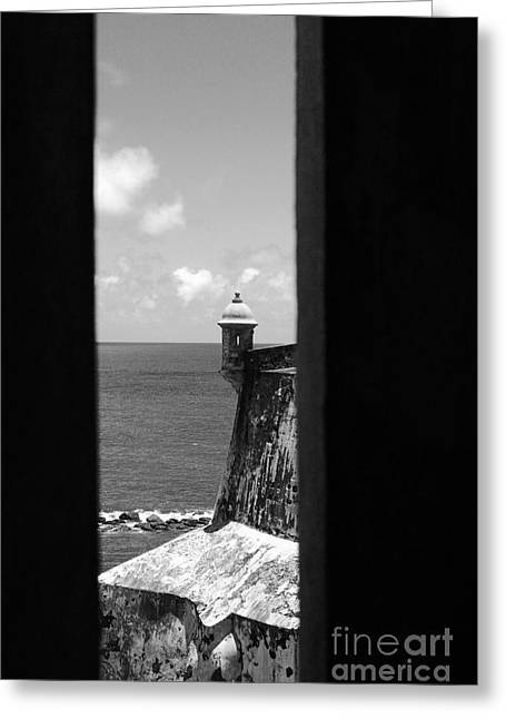 Sentry Tower View Castillo San Felipe Del Morro San Juan Puerto Rico Black And White Greeting Card by Shawn O'Brien