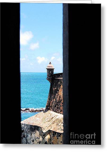 Sentry Tower View Castillo San Felipe Del Morro San Juan Puerto Rico Ink Outlines Greeting Card by Shawn O'Brien