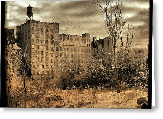 Sepia Cityscape Ruins Greeting Card by Gothicrow Images