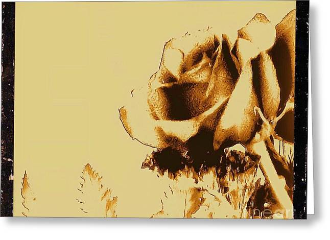 Sepia Rose Greeting Card by Marsha Heiken