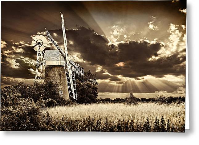 Greeting Card featuring the photograph Sepia Sky Windmill by Meirion Matthias