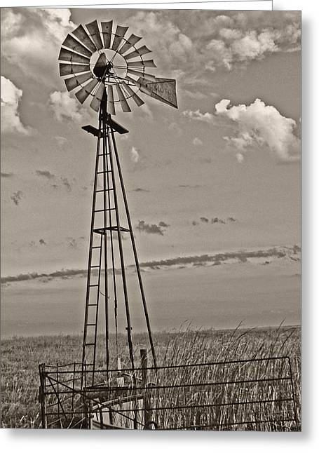 Sepia Windmill And Tank Greeting Card