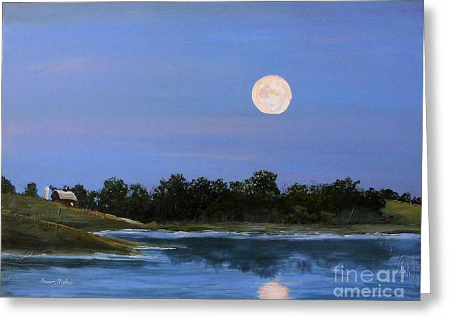 Greeting Card featuring the painting September Moon by Susan Fisher