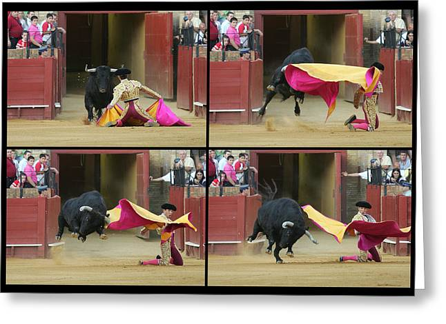 Sequence Of A Bullfight Action Greeting Card by Felipe Rodriguez