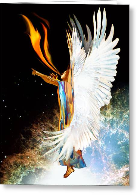 Seraph Calls Out Greeting Card by Ron Cantrell