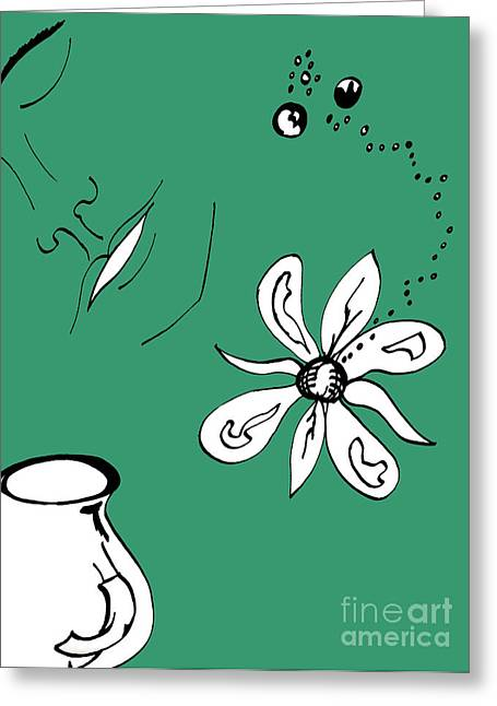 Serenity In Green Greeting Card by Mary Mikawoz