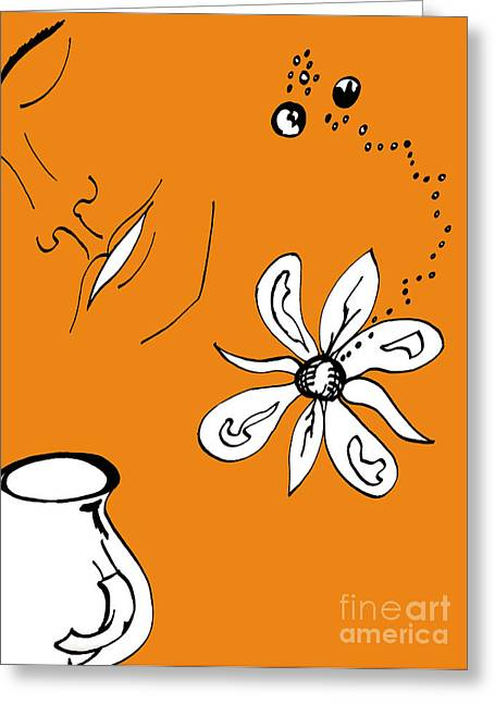 Serenity In Orange Greeting Card by Mary Mikawoz