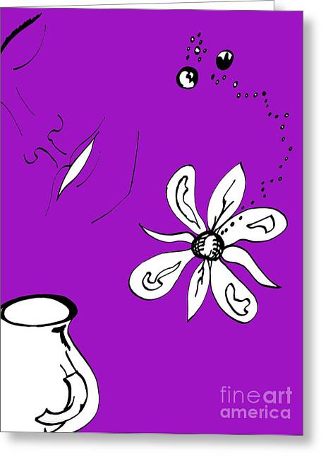 Serenity In Purple Greeting Card by Mary Mikawoz