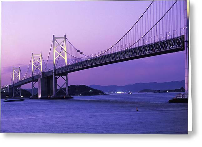 Seto Ohashi Bridge At Dusk Greeting Card by Axiom Photographic