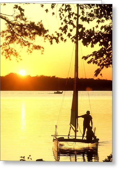 Greeting Card featuring the photograph Setting Sail At Sunset by Wanda Brandon