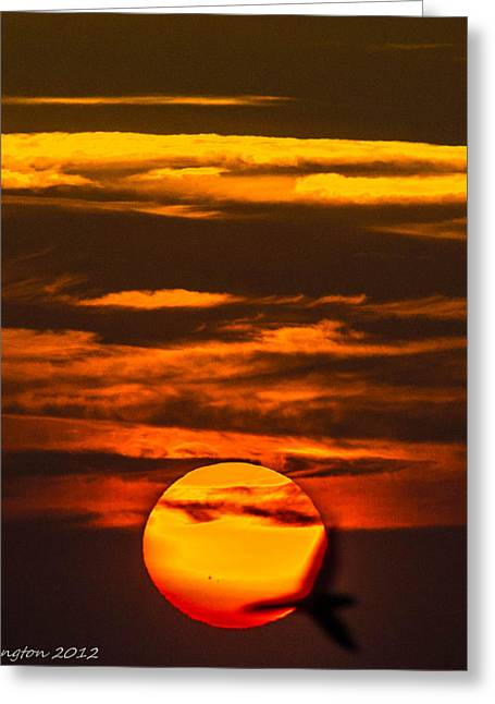 Setting Sun Flyby Greeting Card