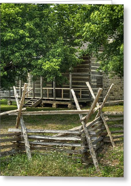 Settlers Cabin And Crosstie Fence 1 Greeting Card