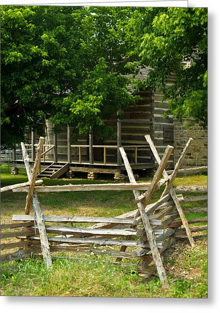 Settlers Cabin And Crosstie Fence 2 Greeting Card