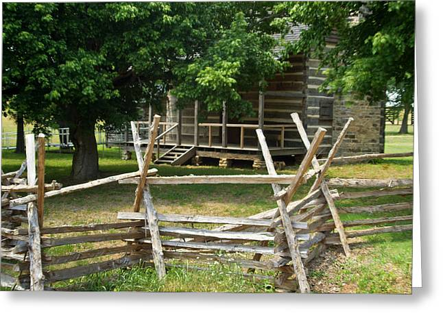 Settlers Cabin And Crosstie Fence 3 Greeting Card