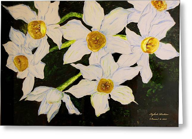 Seven Daffodils Greeting Card by Itzhak Richter