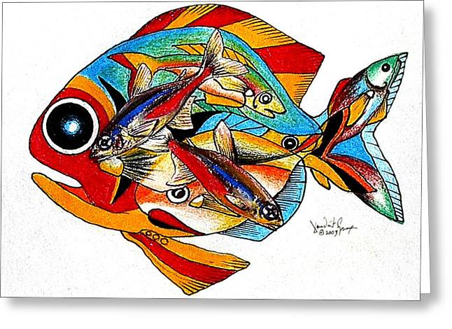 Seven Fish Greeting Card by J Vincent Scarpace