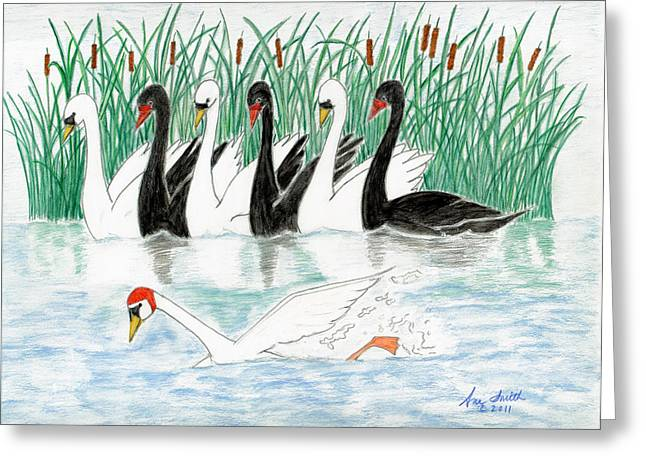 Seven Swans A Swimming Greeting Card by Ani Todd Smith