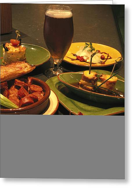 Several Plates Of Appetizers And A Beer Greeting Card