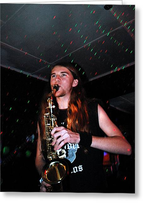 Sexy Sax Man Greeting Card by Valerie McDougal