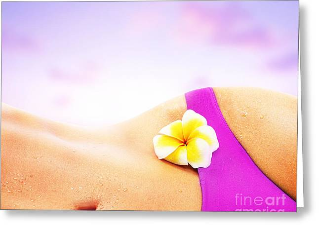 Sexy Woman Over Pink Beach Sunset Greeting Card by Anna Om