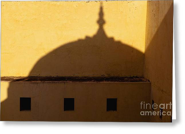 Shadow Cast On The Amber Fort Greeting Card by Inti St. Clair