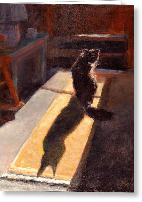 Shadow Cat Greeting Card by Rita Bentley