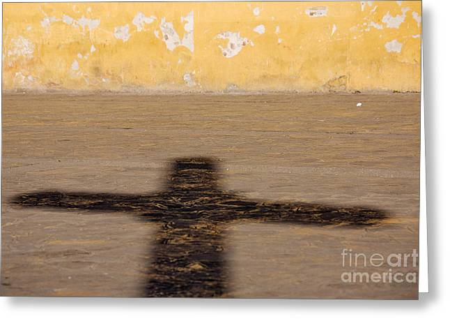 Shadow Of Cross Greeting Card by Jeremy Woodhouse