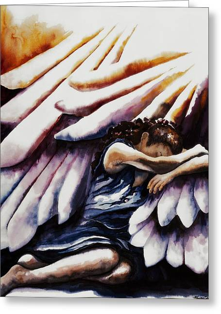 Shadow Of His Wings Greeting Card