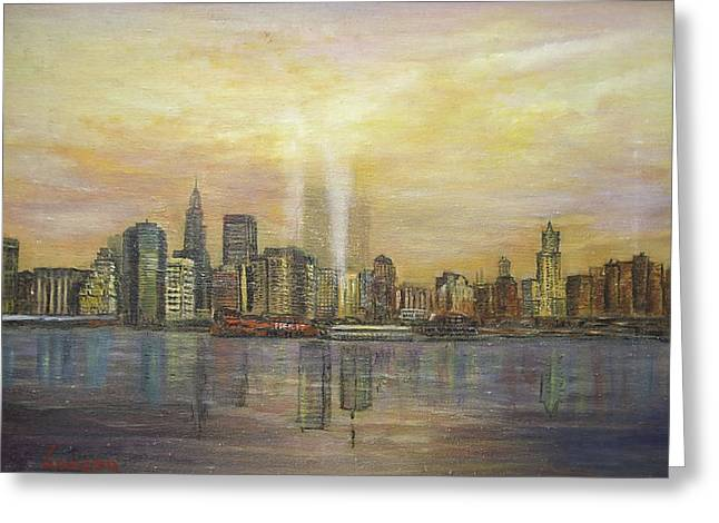 Greeting Card featuring the painting shadows of the New York towers by  Luczay