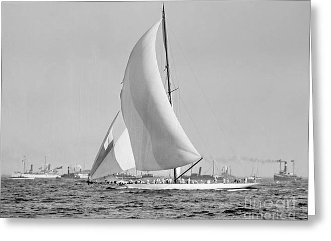 Shamrock IIi At The Americas Cup Finish 1903 Greeting Card by Padre Art
