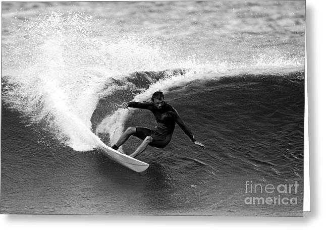 Shane Surf Carving In Black And White Greeting Card by Paul Topp