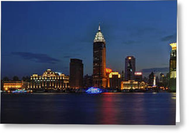 Shanghai Bund Panorama - Night Greeting Card
