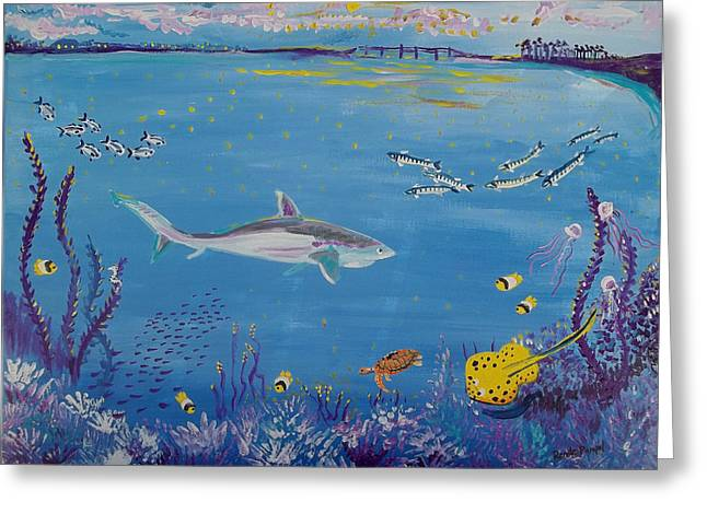 Shark In The Indian River Lagoon Greeting Card