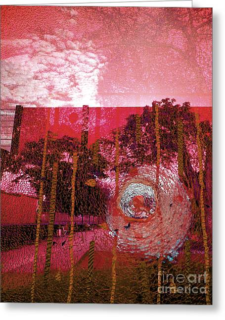 Greeting Card featuring the photograph Abstract Shattered Glass Red by Andy Prendy
