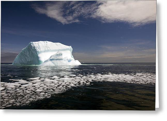 Shattered Ice From Iceberg Floating Greeting Card by John Sylvester