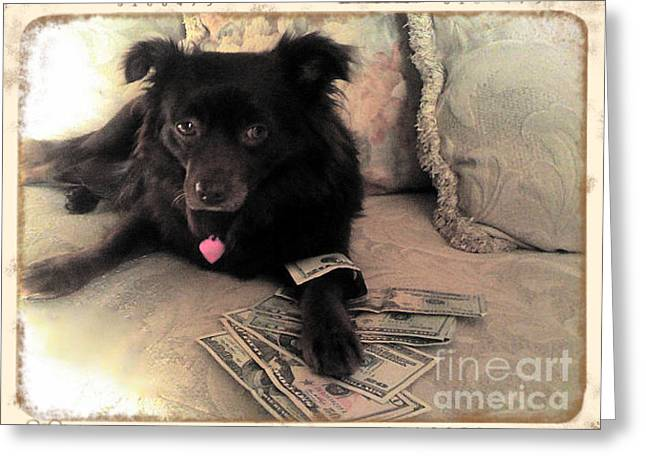 She Is In The Money Greeting Card by Nina Prommer