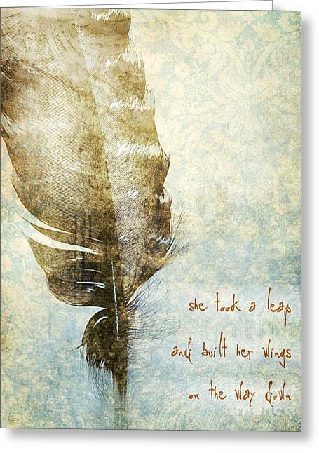 She Took A Leap Greeting Card by HD Connelly
