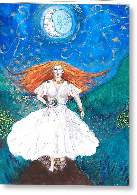 She Walks In Beauty Greeting Card by Janice T Keller-Kimball
