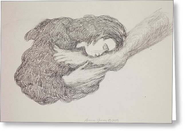 She Wiped His Feet With Her Hair Greeting Card by Bruce Zboray