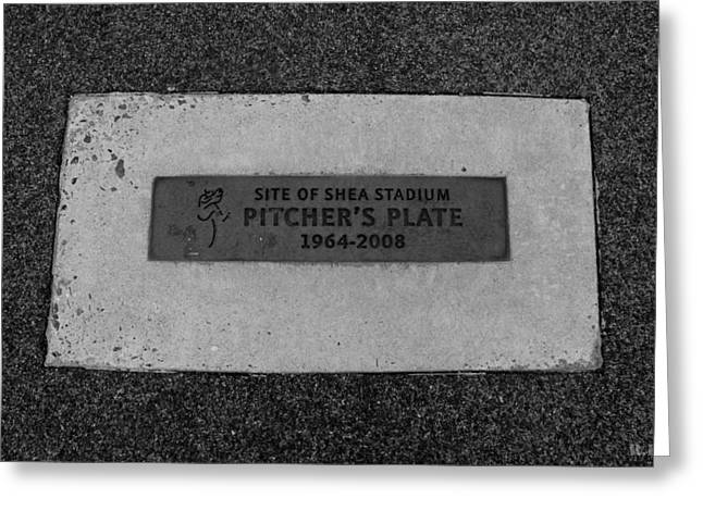 Shea Stadium Pitchers Mound In Black And White Greeting Card by Rob Hans