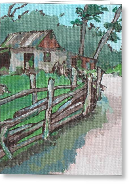Sheep Sheering Shed Greeting Card by Sandy Tracey